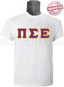 Pi Sigma Epsilon Men's Greek Letter T-Shirt, White - EMBROIDERED with Lifetime Guarantee