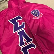 Sigma Lambda Gamma Greek Letter Line Jacket with Crest, Power Pink