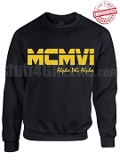 Alpha Phi Alpha Roman Numeral Founding Year Crewneck Sweatshirt - Lifetime Embroidery Guarantee