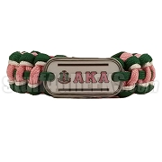Alpha Kappa Alpha Braided Sports Bracelet, Pink/Hunter Green/White - Allow 4-6 Weeks Production Time
