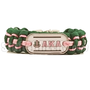 Alpha Kappa Alpha Braided Sports Bracelet, Hunter Green/Pink - Allow 4-6 Weeks Production Time