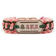 Alpha Kappa Alpha Braided Sports Bracelet, Pink/Hunter Green