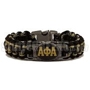 Alpha Phi Alpha Braided Sports Bracelet, Old Gold/Black - Allow 4-6 Weeks Production Time
