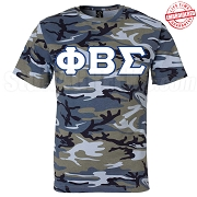 Phi Beta Sigma Greek Letter T-Shirt, Blue Camouflage - EMBROIDERED with Lifetime Guarantee