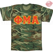 Phi Mu Alpha Greek Letter T-Shirt, Woodland Camoflauge - EMBROIDERED with Lifetime Guarantee