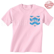 Gamma Phi Delta Chevron Faux Pocket T-shirt - EMBROIDERED with Lifetime Guarantee