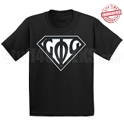 Groove Phi Groove T-Shirt with Greek Letters Inside Superman Shield, Black - EMBROIDERED with Lifetime Guarantee