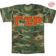 Gamma Zeta Rho Greek Letter T-Shirt, Woodland Camoflauge - EMBROIDERED with Lifetime Guarantee