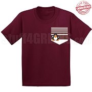 GSS Penguin & Stripes Faux Pocket T-Shirt -  EMBROIDERED with Lifetime Guarantee