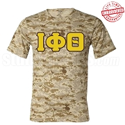 Iota Phi Theta Greek Letter T-Shirt, Sand Camouflage -  EMBROIDERED with Lifetime Guarantee