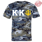 Kappa Kappa Psi Greek Letter T-Shirt, Blue Camouflage - EMBROIDERED with Lifetime Guarantee