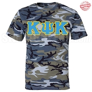 Kappa Psi Kappa Greek Letter T-Shirt, Blue Camouflage - EMBROIDERED with Lifetime Guarantee