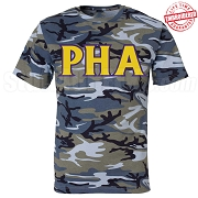 Mason Greek Letter T-Shirt, Blue Camouflage - EMBROIDERED with Lifetime Guarantee
