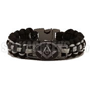 Mason Braided Sports Bracelet, Black/Gray - Allow 4-6 Weeks Production Time