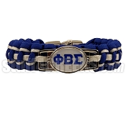 Phi Beta Sigma Braided Sports Bracelet, White/Royal Blue - Allow 4-6 Weeks Production Time