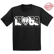 Swing Phi Swing T-Shirt with Crest and Founding Year, Black - EMBROIDERED with Lifetime Guarantee