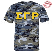 Sigma Gamma Rho Greek Letter T-Shirt, Blue Camouflage - EMBROIDERED with Lifetime Guarantee