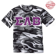 Groove Phi Groove Greek Letter T-Shirt, Urban Camouflage - EMBROIDERED with Lifetime Guarantee