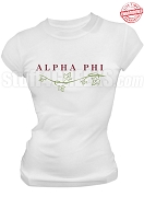Alpha Phi With Vine Stitched T-Shirt, White - EMBROIDERED with Lifetime Guarantee