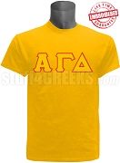 Alpha Gamma Delta Greek Letter Stitched T-Shirt, Gold - EMBROIDERED with Lifetime Guarantee