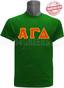 Alpha Gamma Delta Greek Letter T-Shirt, Green - EMBROIDERED with Lifetime Guarantee
