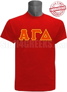 Alpha Gamma Delta Greek Letter Stiched T-Shirt, Red -  EMBROIDERED with Lifetime Guarantee