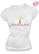 Alpha Sigma Alpha Palm Tree T-Shirt, White -  EMBROIDERED with Lifetime Guarantee