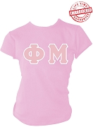 Phi Mu Greek Letter T-Shirt, Pink - EMBROIDERED with Lifetime Guarantee