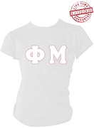 Phi Mu Greek Letter  T-Shirt, White - EMBROIDERED with Lifetime Guarantee