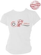 Phi Mu Logo Stitched T-Shirt, White - EMBROIDERED with Lifetime Guarantee