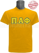 Pi Alpha Phi Greek Letter T-Shirt, Gold -  EMBROIDERED with Lifetime Guarantee
