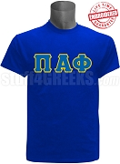 Pi Alpha Phi Greek Letter Stitched T-Shirt, Royal - EMBROIDERED with Lifetime Guarantee