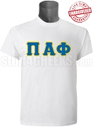 Pi Alpha Phi Greek Letter Stitched T-Shirt, White - EMBROIDERED with Lifetime Guarantee