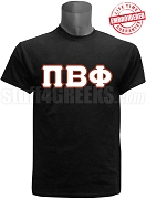 Pi Beta Phi Greek Letter T-Shirt, Black EMBROIDERED with Lifetime Guarantee