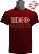 Pi Beta Phi Greek Letter Stitched T-Shirt, Crimson EMBROIDERED with Lifetime Guarantee