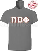 Pi Beta Phi Greek Letter T-Shirt, Grey EMBROIDERED with Lifetime Guarantee