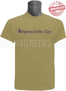 Sigma Delta Tau Logo w/o Tag Line Stitched T-Shirt, Tan EMBROIDERED with Lifetime Guarantee