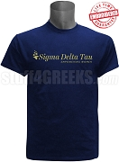 Sigma Delta Tau Logo With Tag Line T-Shirt, Navy EMBROIDERED with Lifetime Guarantee