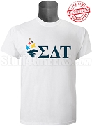 Sigma Delta Tau Torch Wth Letters T-Shirt, White EMBROIDERED with Lifetime Guarantee