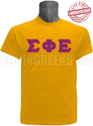 Sigma Phi Epsilon Greek Letter Stitched T-Shirt,Gold - EMBROIDERED with Lifetime Guarantee