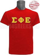 Sigma Phi Epsilon Greek Letter Stitched T-Shirt, Red - EMBROIDERED with Lifetime Guarantee