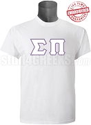 Sigma Pi Greek Letter T-Shirt, White - EMBROIDERED with Lifetime Guarantee