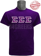 Tri-Sigma Greek Letter T-Shirt, Purple - EMBROIDERED with Lifetime Guarantee