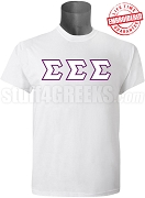 Tri-Sigma Greek Letter T-Shirt, White - EMBROIDERED with Lifetime Guarantee