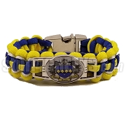 Tau Beta Sigma Greek Braided Sports Bracelet with Crest, Blue/Yellow/White - Allow 4-6 Weeks Production Time