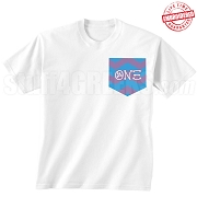 Theta Nu Xi Chevron Faux Pocket T-Shirt - EMBROIDERED with Lifetime Guarantee