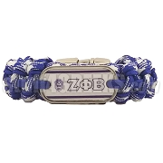 Zeta Phi Beta Braided Sports Bracelet, White/Royal Blue - Allow 4-6 Weeks Production Time