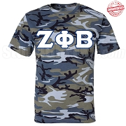 Zeta Phi Beta Greek Letter T-Shirt, Blue Camouflage - EMBROIDERED with Lifetime Guarantee