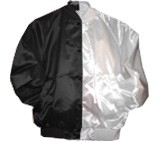 Clearance: Black/White Two-Tone Satin Baseball Jacket, Size 2XL, Blank
