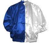 Clearance: Royal Blue/WhiteTwo-Tone Satin Baseball Jacket, Size XL, Blank